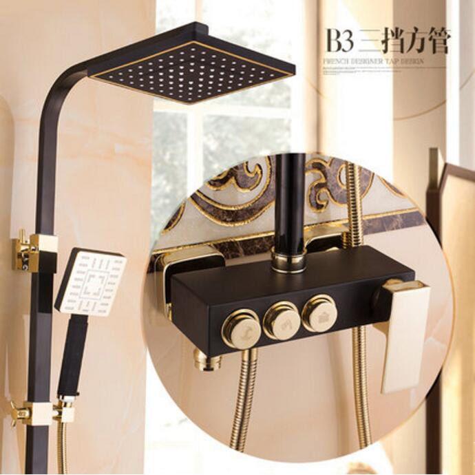 Dusche wasserhahn Badewanne Wasserhahn Sets Bad Luxus schwarz Goldene brausebatterie mit bidet dusche antique gold brausegarnitur bad