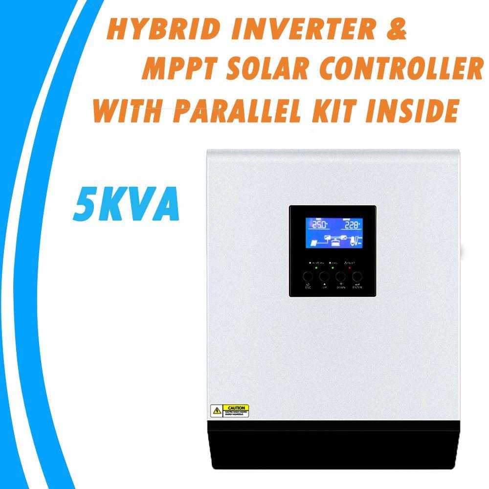 5KVA Reine Sinus Welle Hybrid Inverter 48V 220V Eingebaute MPPT 60A PV Laderegler AC Ladegerät mit Parallel kit Innen MPS-5K
