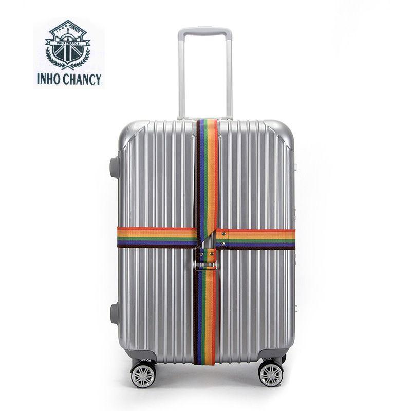 INHO CHANCY! voyage Accessoires Valise emballé avec ceintures de sécurité à l'étranger valise mots croisés bagages sangles