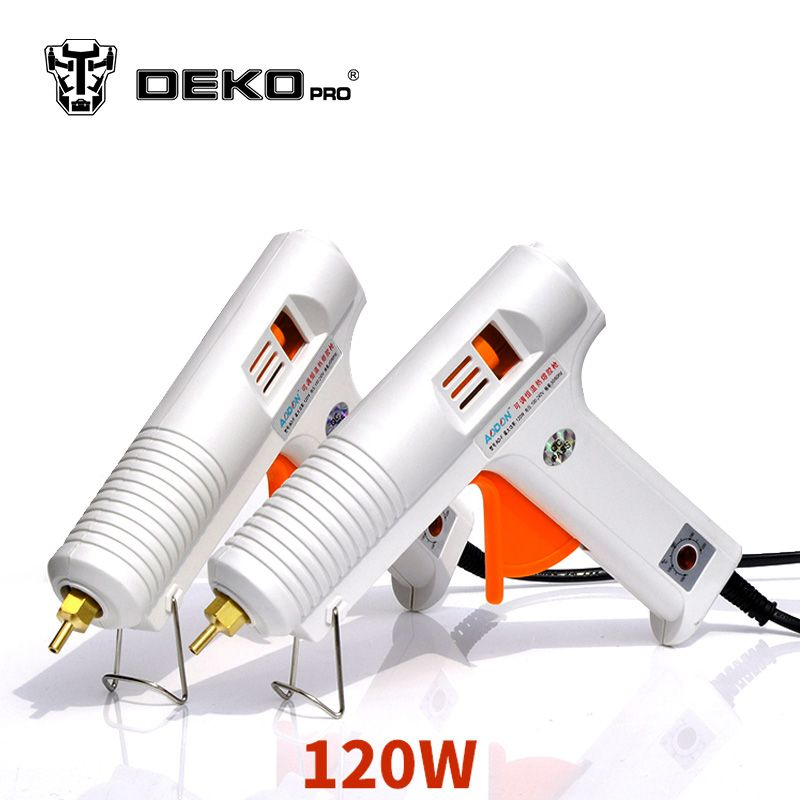 DEKOPRO 120W Hot Melt Glue Gun with 1pc 11mm Glue Stick Heat Temperature Tool Industrial Guns Thermo Gluegun Repair Heat Tools