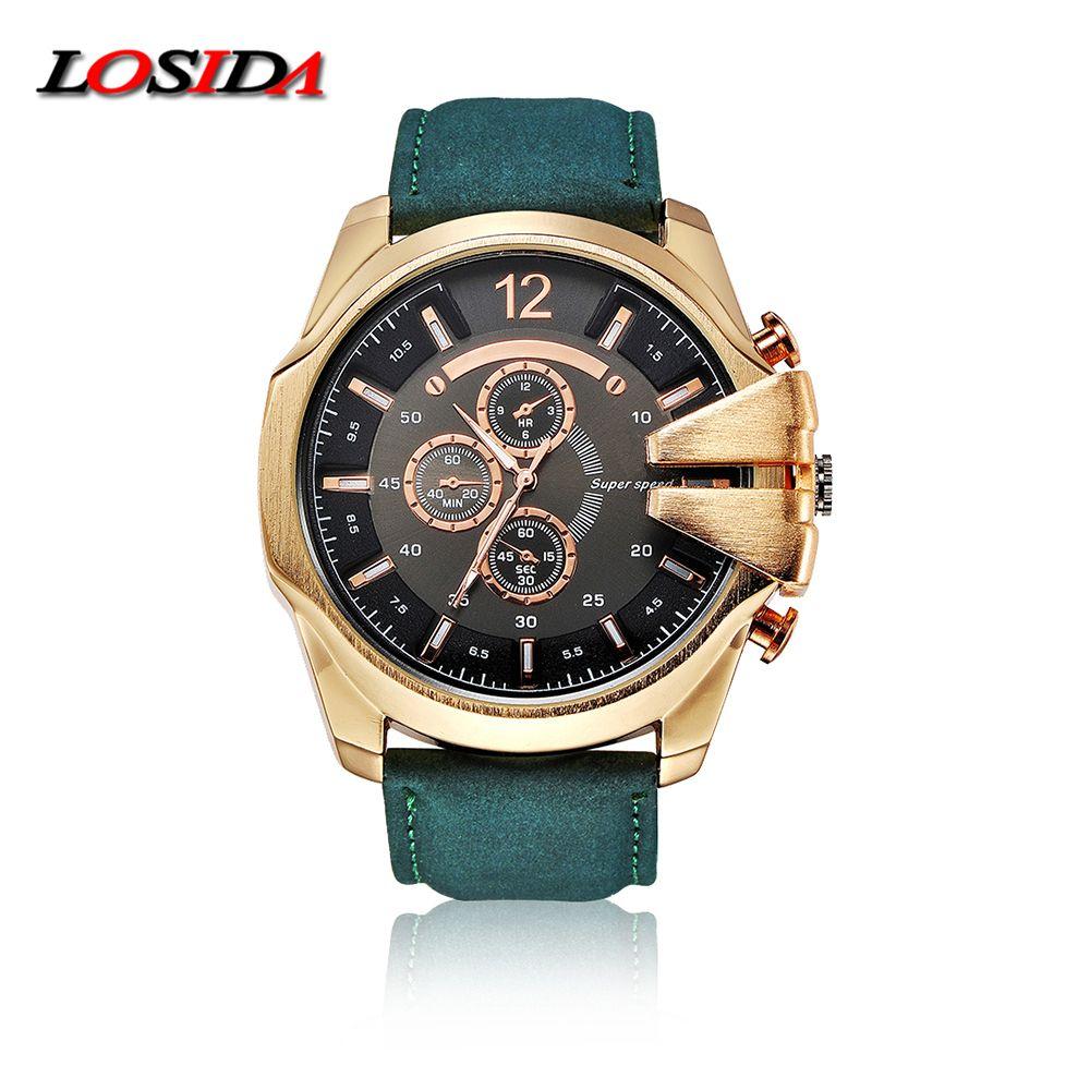 2019 Losida hommes noir grande montre montres de sport poignet Quartz extérieur armée résistant aux chocs horloge mâle bracelet en cuir montre d'affaires