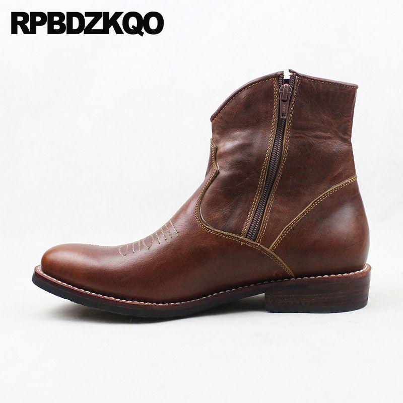 Westlichen Kurze Brown Full Grain Leder 2018 Chunky Cowboy Stiefel Mens Echtes Designer Herbst Luxus Zipper Ankle Cowgirl Schuhe