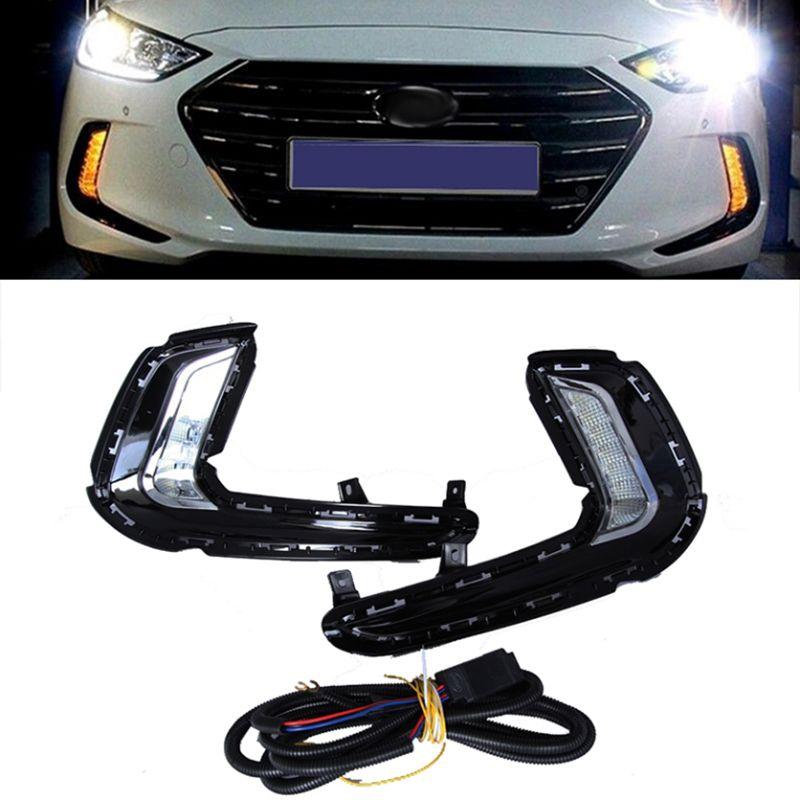 LED 2Way Daytime Running Light DRL with yellow signal fog lamp For Hyundai Avante AD Elantra 2016-2017 Car styling