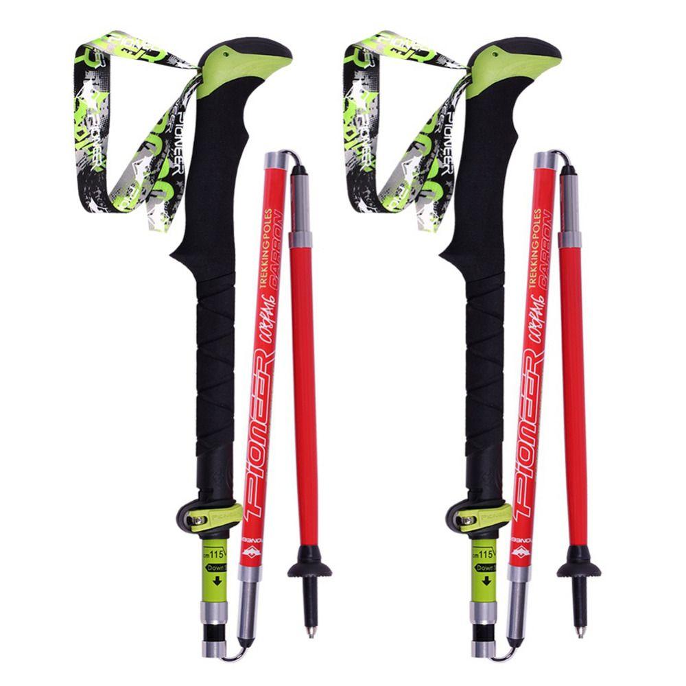 2017 1 pair  Telescopic Hiking Alpenstock Carbon Fiber Ultra-light Climbing Cane Foldable  Ski Pole Walking Sticks V2