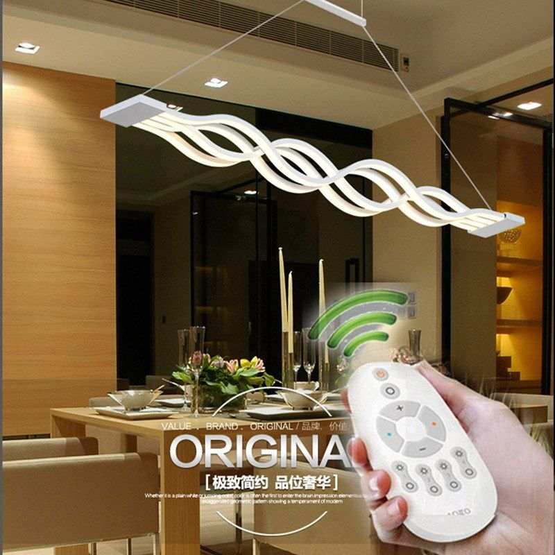 BLEU TEMPS L100CM 120 cm New Creative Moderne LED Lampes Suspendues ondes Suspendus Lampe Salle À Manger Salon Pendentif Lumière 110 V 220 V