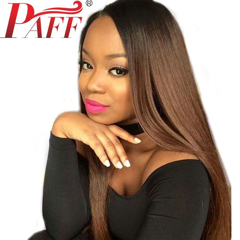 PAFF Ombre Lace Front Human Hair Wigs Silky Straight Two Tone Color Wig Baby Hair Pre Plucked Peruvian Remy Hair Wigs For Women