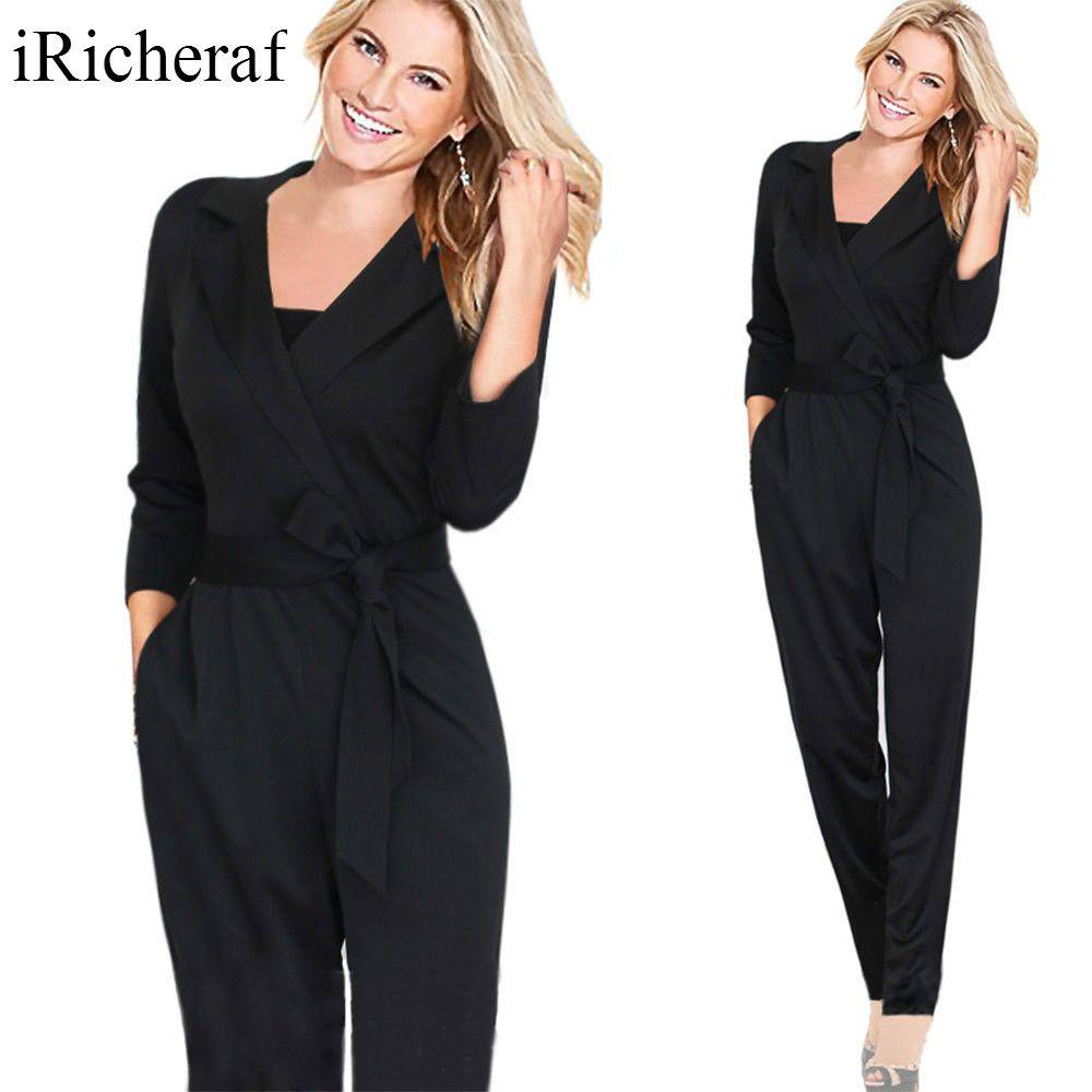 Iricheraf длинные Комбинезоны для женщин и Комбинезоны для малышек для Для женщин XXL Осень свободные сексуальные v-образным вырезом карманы мода...