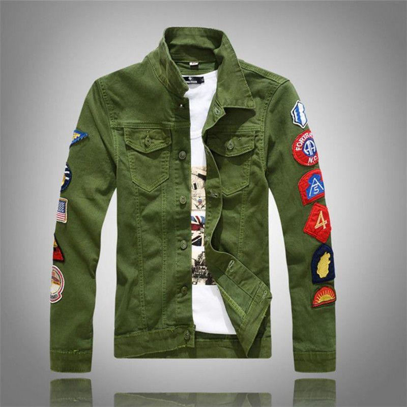 2018 New Men's Jacket Slim Fit Denim Jacket Men's Green White Jacket