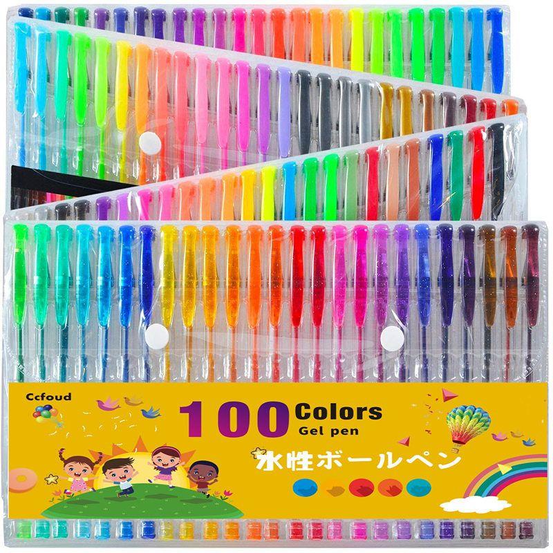 Ccfoud 100 couleurs Gel stylo ensemble esquisse dessin couleur stylos pour école bureau papeterie métallique Pastel néon paillettes Gel stylos
