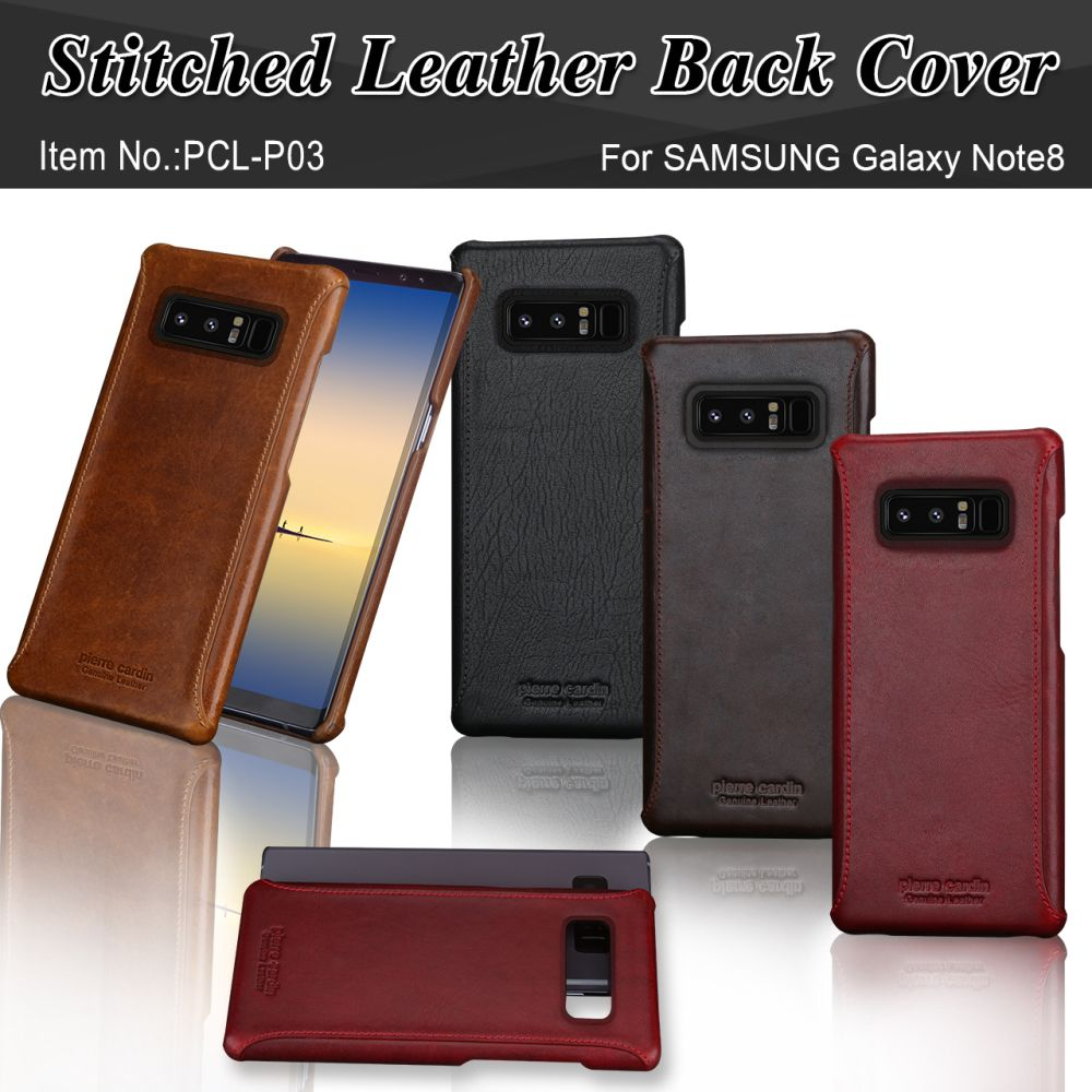 Pierre Cardin Brand New Vintage Genuine Leather Phone Case For Samsung Galaxy Note 8 Slim Hard Back Cover Case Free Shipping