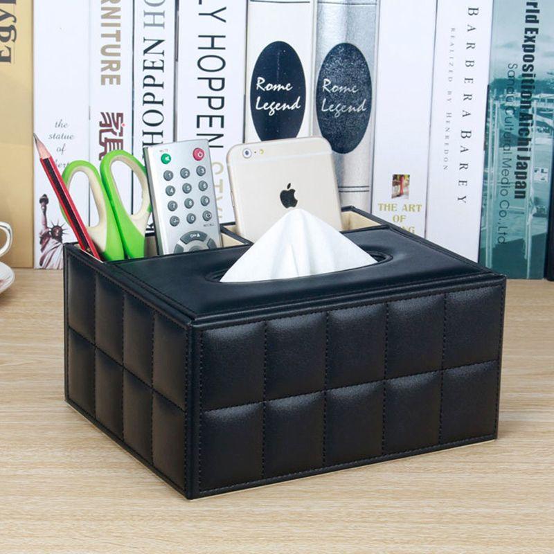 Cuir PU multifonction organisateur de bureau bureau boîte de rangement noir classique porte-crayons papeterie Collection boîtes