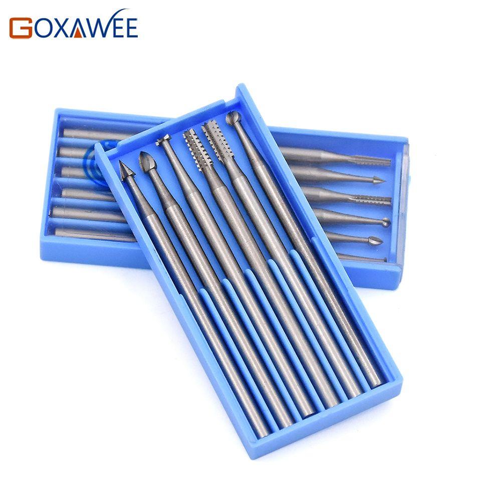 GOXAWEE Mini outils rotatifs fraises en acier outils abrasifs pour Dremel outils accessoire Mini perceuse accessoires 009 #/014 #/018 #/023 #