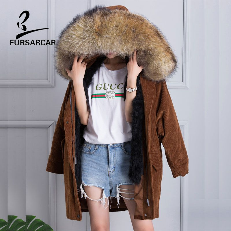 FURSARCAR 2017 New Women's Raccoon Fur Collar Corduroy Cotton Coats Winter Warm Long Jacket Lining Real Wool Fur Parka Jacket