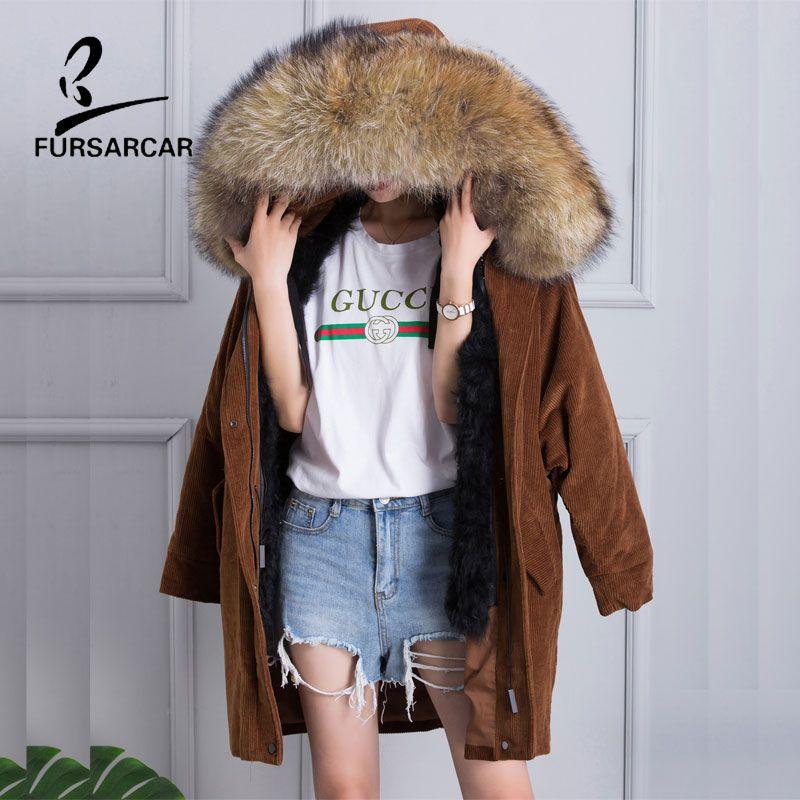 FURSARCAR 2017 New Women's Raccoon Fur Collar Corduroy Cotton Coats Winter Warm Long Jacket Lining Real Wool Fur Parka Jacket