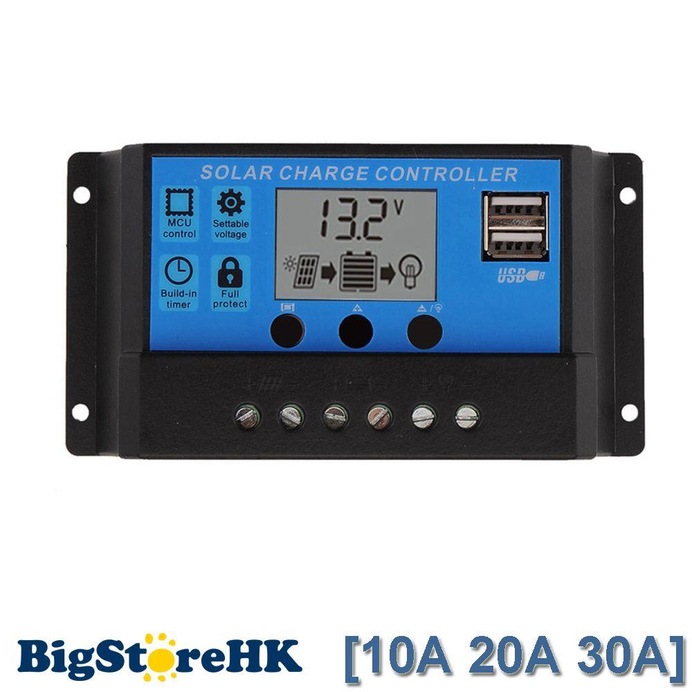 30A/20A/10A 12 v 24 v Auto travail de Charge Solaire Contrôleur PWM avec ÉCRAN LCD Double USB 5 v Sortie Cellule Solaire Panneau Chargeur Régulateur PV Maison