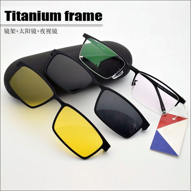 Half Frame Titanium Frame Glass Frame Myopia Glasses Men Sunglasses Night-Vision Glasses with Polarized Clip Set of Magnet Lens