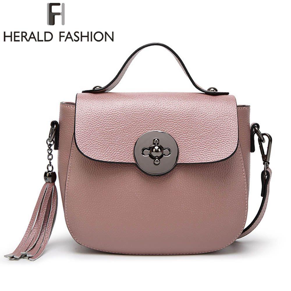 Herald Fashion Genuine Leather Messenger Bag For Women Tassel Shoulder Bags Casual Brand Tote Bag Handbags New Design Shell Bag