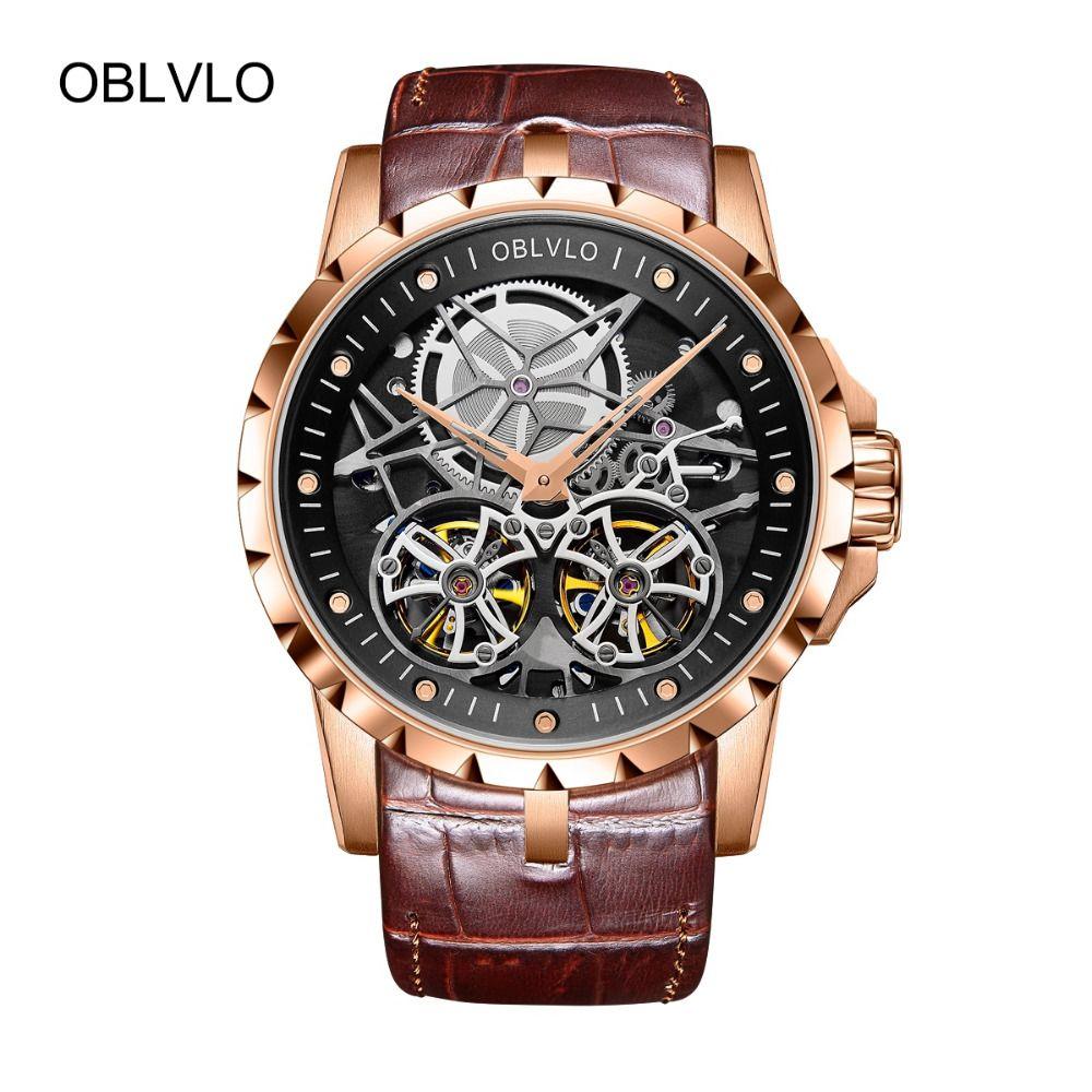 2018 OBLVLO Herren Militär Uhren Automatische Uhren Wasserdicht Rose Gold Skeleton Uhr Braun Lederband Montre Homme OBL3606
