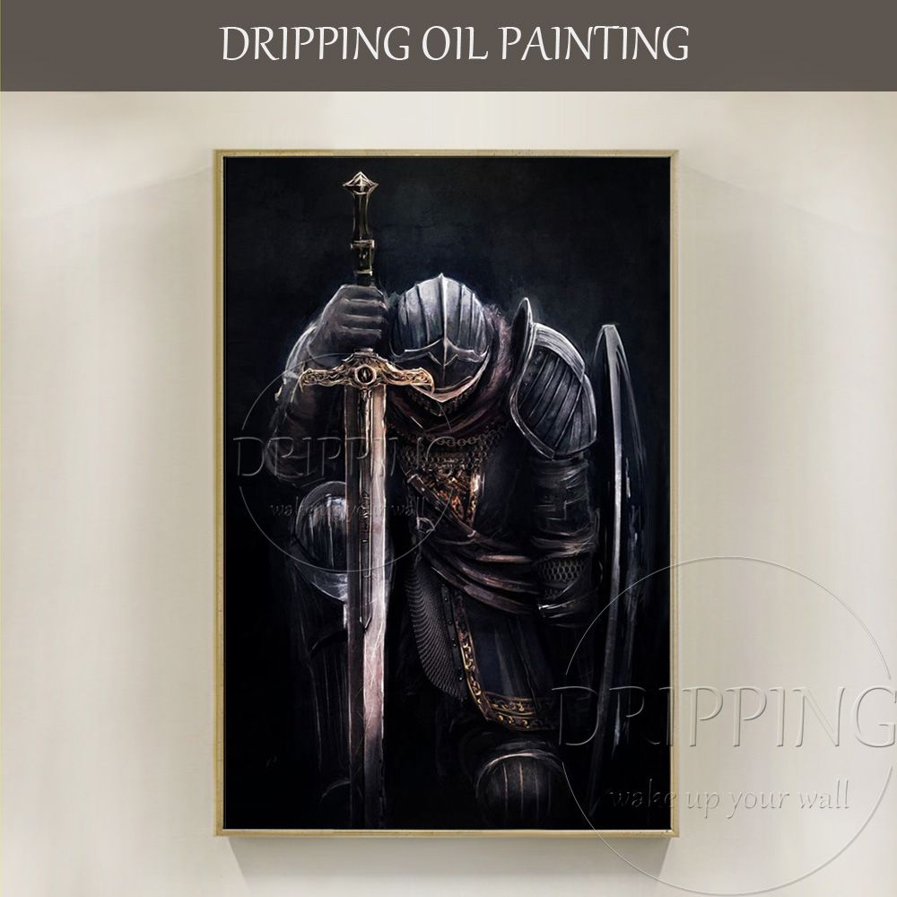 Top Artist Handmade High Quality Impressionist Medieval Knight Portrait Oil Painting on Canvas Knight Wearing Armor Oil Painting