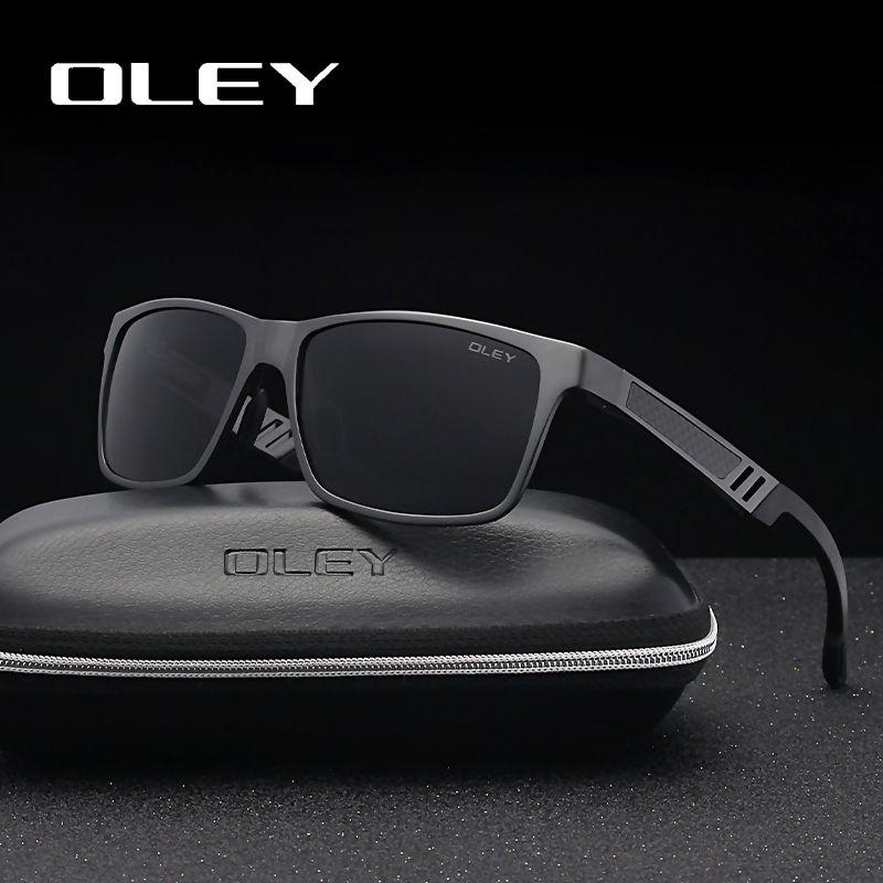 OLEY hommes lunettes de soleil polarisées aluminium magnésium lunettes de soleil conduite lunettes Rectangle pour hommes/femmes Oculos masculino mâle