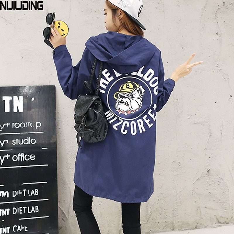 NIJIUDING New Autumn Women Casual Student Hoodies Outwear Loose Trench Coat  Dog Letter Print  Basic Trench XS-2XL