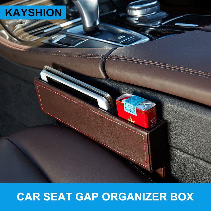 Leather car seat crevice storage box multi-purpose auto gap organizers carrying pocket car seat gap store content box black