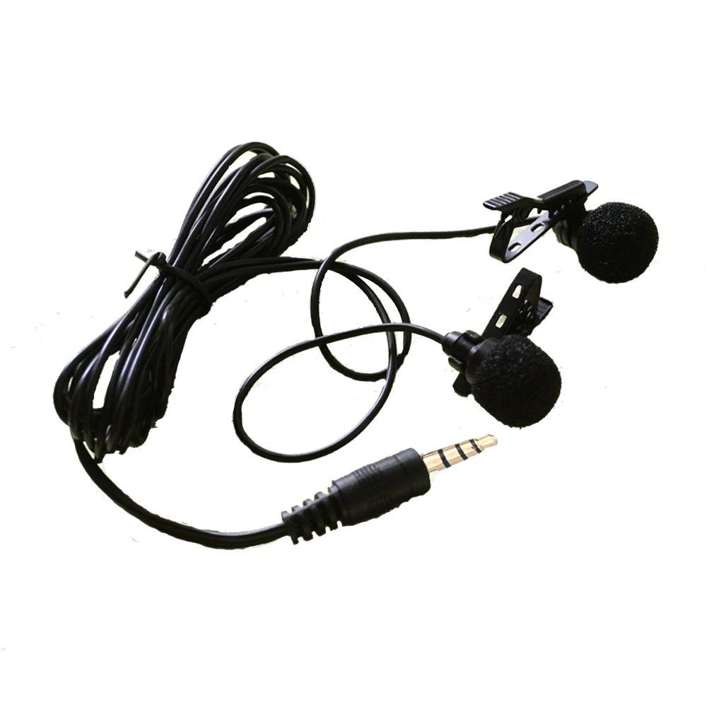 TGETH Double pince cravate Lavalier Microphone 3.5mm Jack mains libres Mini filaire condensateur Microphone pour Smartphones PC ordinateur portable