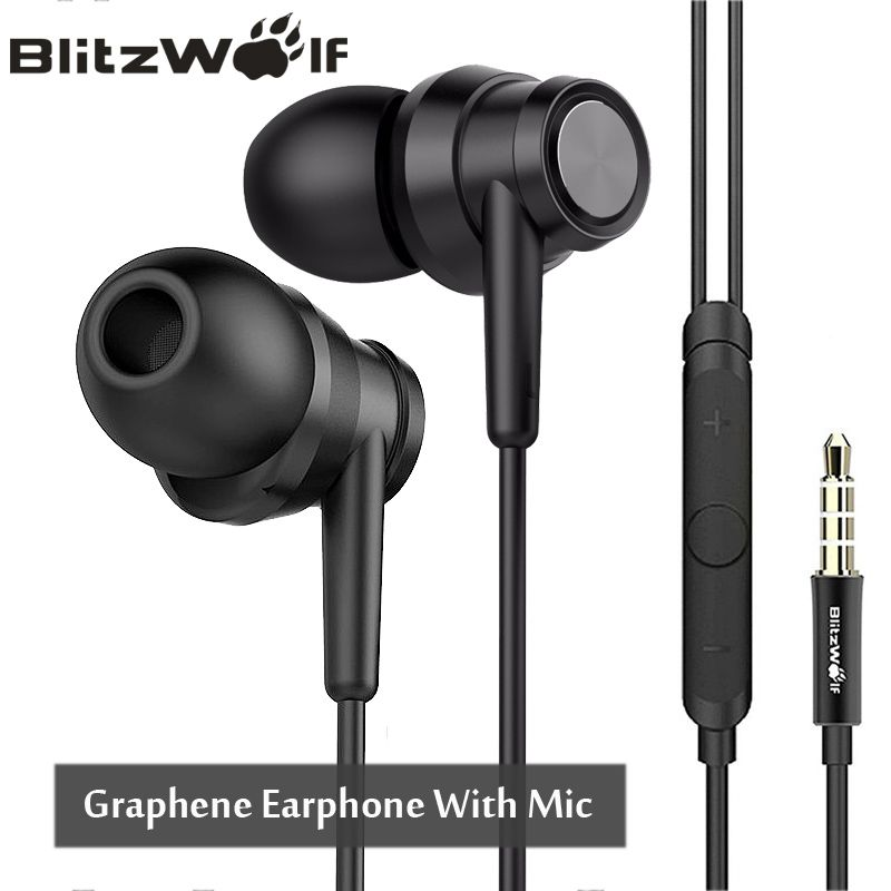 BlitzWolf BW-ES1 3.5mm In-ear Noise <font><b>Cancelling</b></font> Earphone Stereo Earbuds Graphene Earphones With Microphone For Mobile Phone