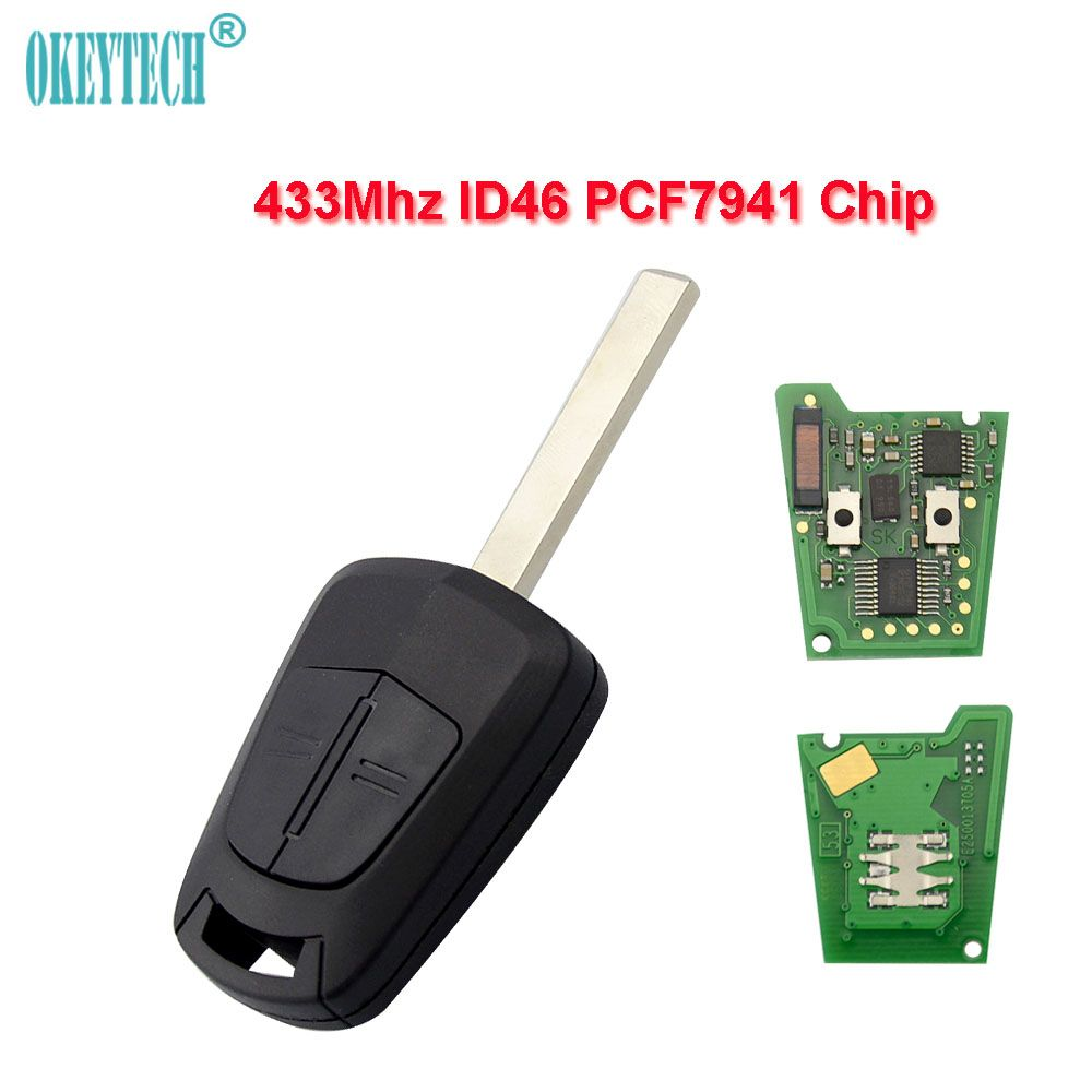 OkeyTech for Opel Remote Key 433mhz ID46 PCF7941 Chip Uncut Blade 2 Buttons For Opel Vauxhall Astra H J Corsa Insignia Control