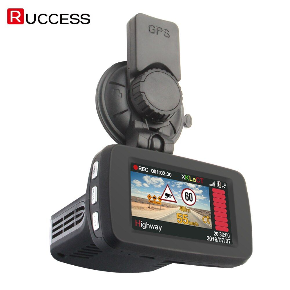 RUCCESS Radar Detectors Video Car DVR Radar Detector GPS Logger 3 in 1 Russian Dash Camera FULL HD Speed Anti Radars