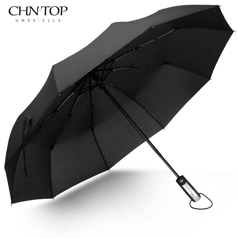 Free Shipping Wind Resistant Folding Automatic Umbrella Male Auto Luxury Big Windproof Umbrellas For Men Rain Black Coating 10K