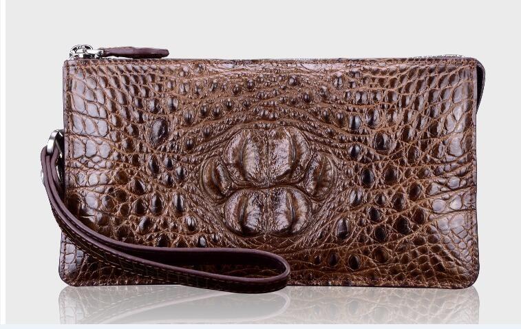 100% echtes krokodilledergeldbörsen und geldbörse alligator haut brieftaschen männer kupplung alligator haut schwarz braun farbe geld halter