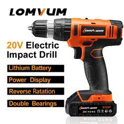 LOMVUM 20 V Sans Fil Portable Impact Perceuse Électrique Réglable vitesse perforateur Tournevis MINI électrique outil batterie au lithium