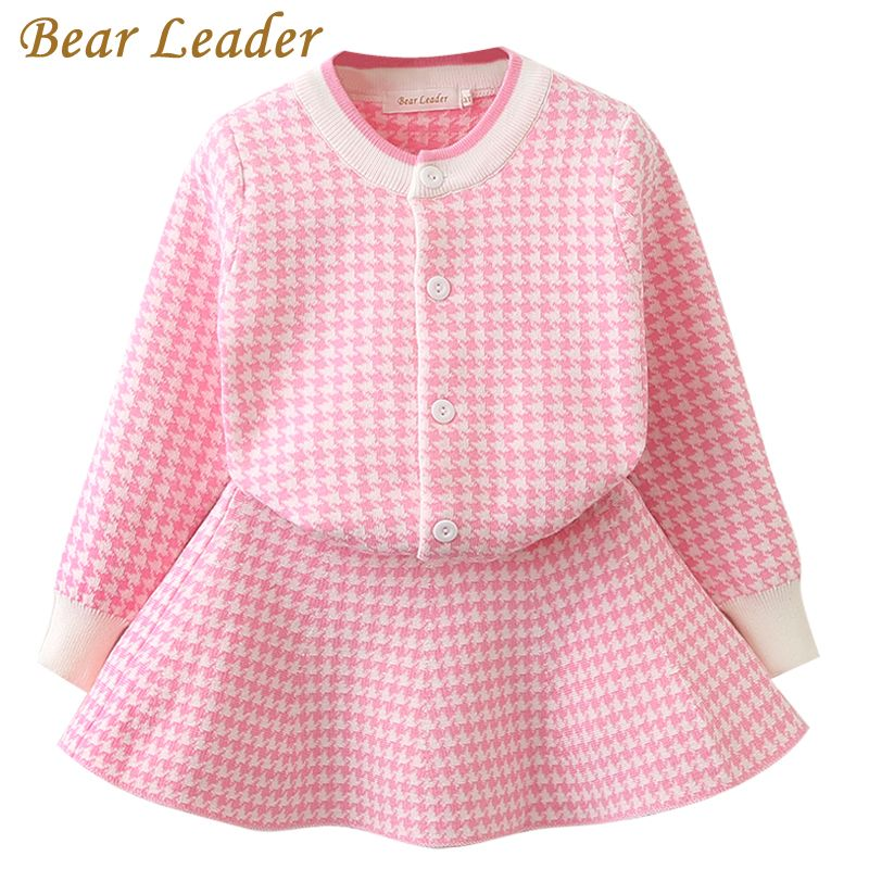 Bear Leader Spring Girls Clothing Sets 2018 New Houndstooth Knitted Suits Long Sleeve Plaid Jackets+Skits 2Pcs for Kids Suits