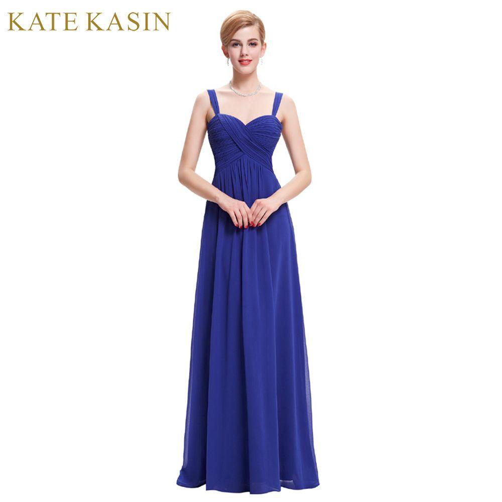 Kate Kasin Summer Evening Dresses Long Robe de Soiree 2017 Elegant Black <font><b>Green</b></font> Royal Blue Evening Gowns White Formal Dress 0065