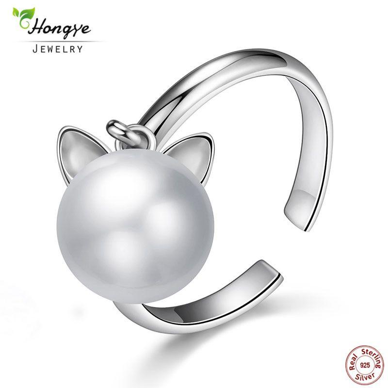 Hongye 925 argent Sterling mignon chat réel naturel perle d'eau douce anneau anneaux ouverts pour les femmes mode fille bijoux accessoires