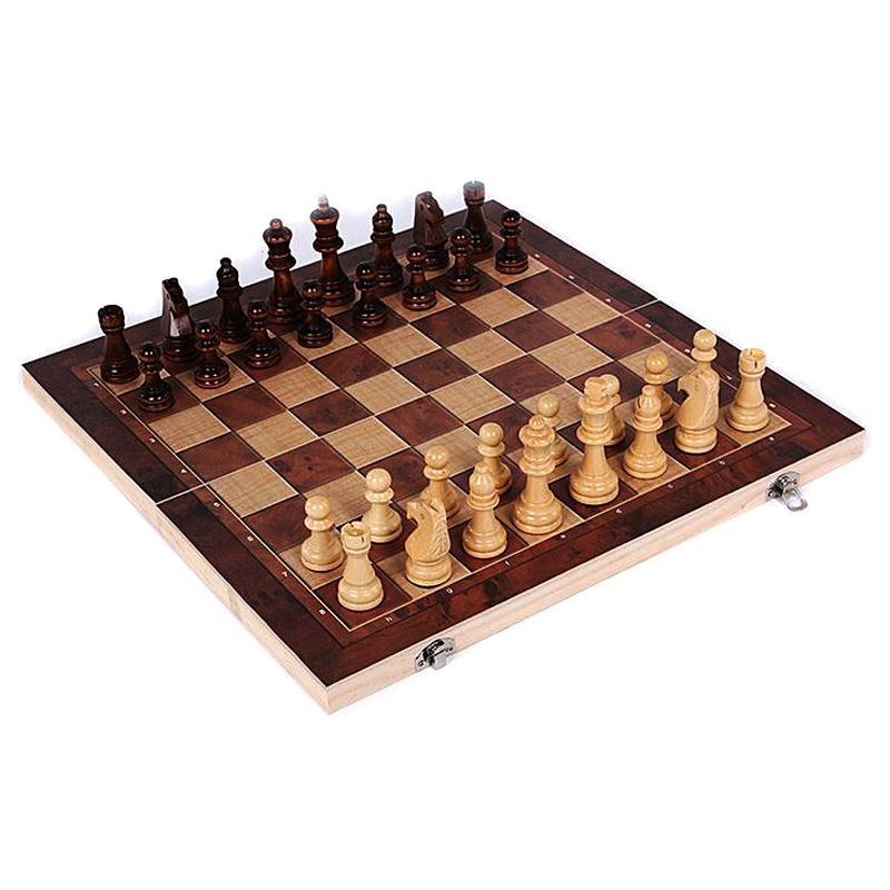 New Design 3 in 1 <font><b>Wooden</b></font> International Chess Set Board Travel Games Chess Backgammon Draughts Entertainment T20