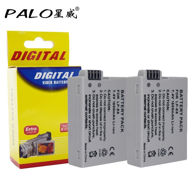 PALO 2Pcs 7.4V 1800mah LP-E8 LP E8 LPE8 Digital Camera Battery For Canon EOS 600D 650D 550D 700D T4i T5i Rebel T2i