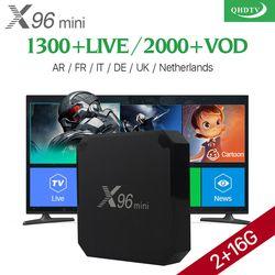 Arabe IPTV Boîte VOD 2000X96 mini Android 7.1 Smart TV BOÎTE QHDTV Code D'abonnement X96MINI Europe Français Italia IPTV Top Box