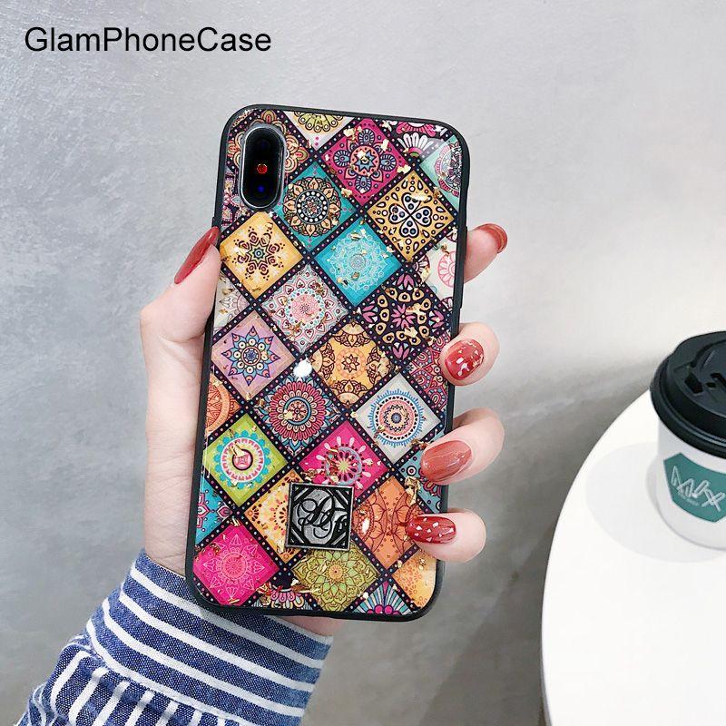 GlamPhoneCase Géométrique Art Treillis Cas de Téléphone Pour iphone XS Max Cas Pour iphone XR X 8 7 6 s 6 plus Rétro De Luxe Glitter Couverture