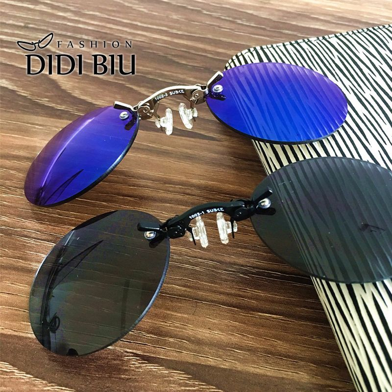 DIDI Small Round Clip On Nose Mini Sunglasses Men Brand <font><b>Cool</b></font> Steampunk Sun Glasses Women Vintage Metal Black Coating Gafas H689
