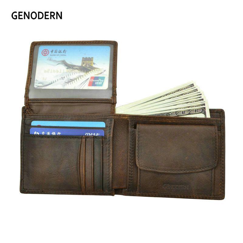 Gênes en cuir de vache hommes portefeuilles avec poche de pièce de monnaie Vintage homme sac à main fonction marron en cuir véritable hommes portefeuille avec porte-cartes