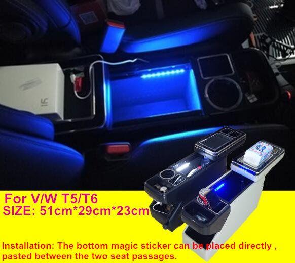 Für Volkswagen MPV Multivan T5/T6 Multifunktionale auto konsole box, armlehne storage box mit USB, Atmosphäre licht