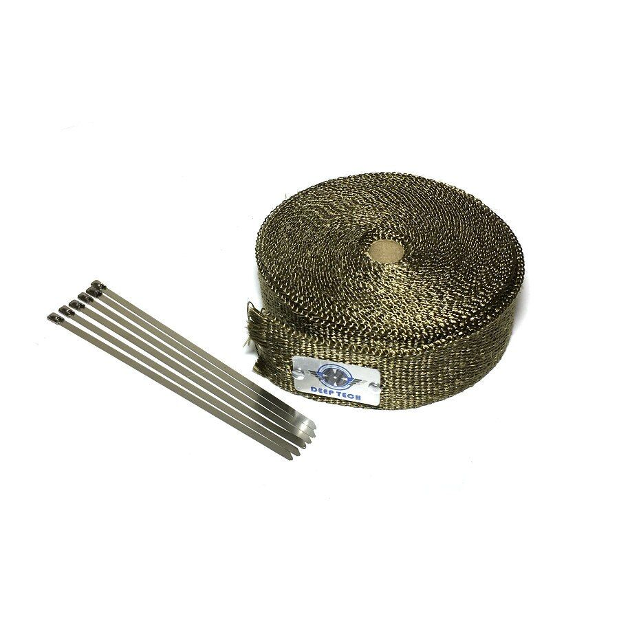 15m/50ft x 1inch Lava Fiber Thermal Exhaust Tape Exhaust Wrap Heat Resistant Wrap Titanium Exhaust Heat Wrap With Clamps