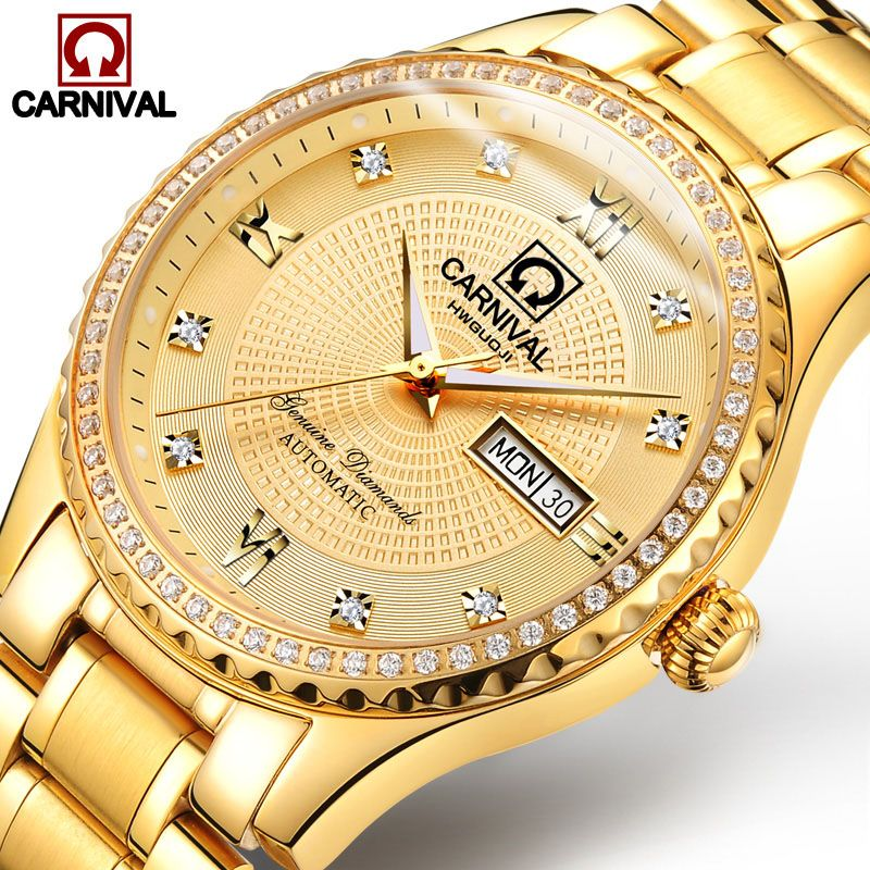 Carnival Watch Men Automatic Mechanical Luminous All Gold Stainless Steel Waterproof Date Week Watches