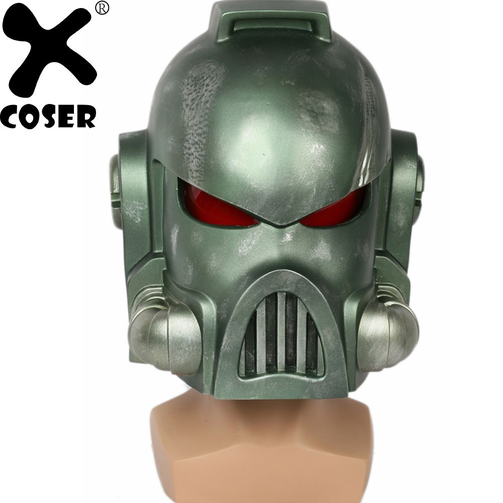 XCOSER Warhammer 40k Space Marine Helmet Game Cosplay Props Cool Green Full Head Face Helmets Mask Costumes Accessories