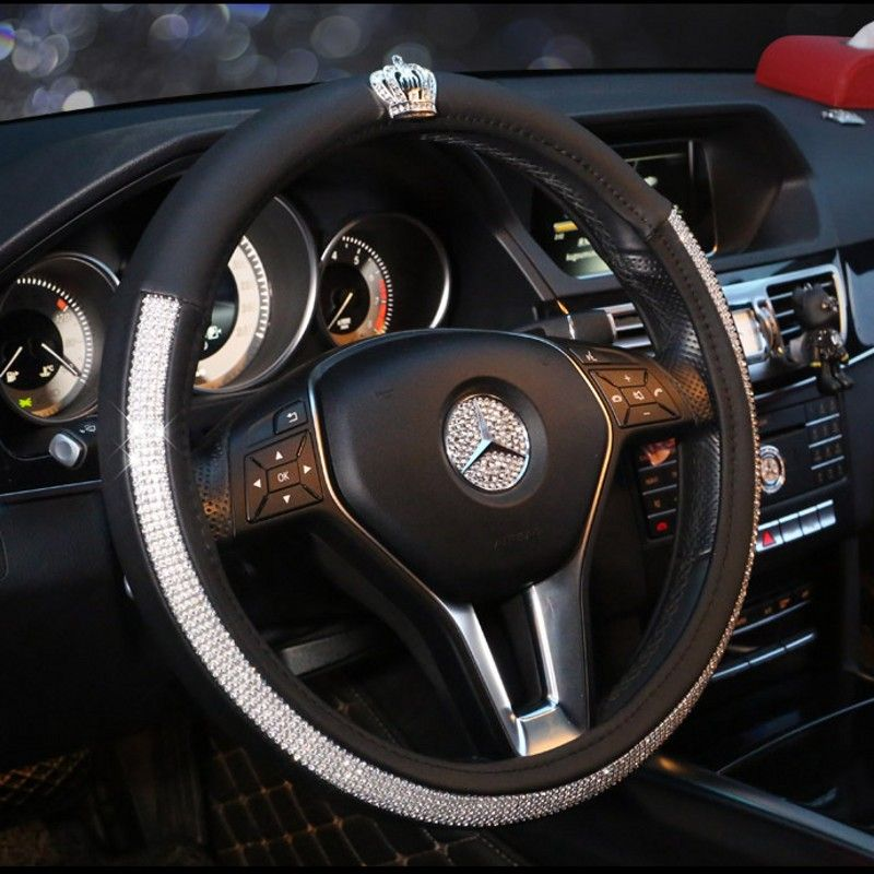 Crown Series Car Steering Wheel Cover Leather Crystal Rhinestone covered Steering-Wheel Covers Women Girls Interior Accessories