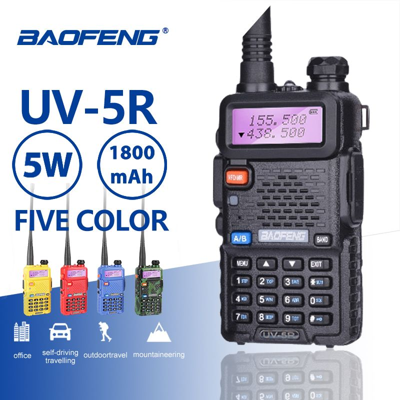 Baofeng UV-5R talkie-walkie professionnel 5 W UHFVHF Portable UV5R Deux Voies CB Radio Station UV 5R Chasse HF Jambon Émetteur-Récepteur Radio