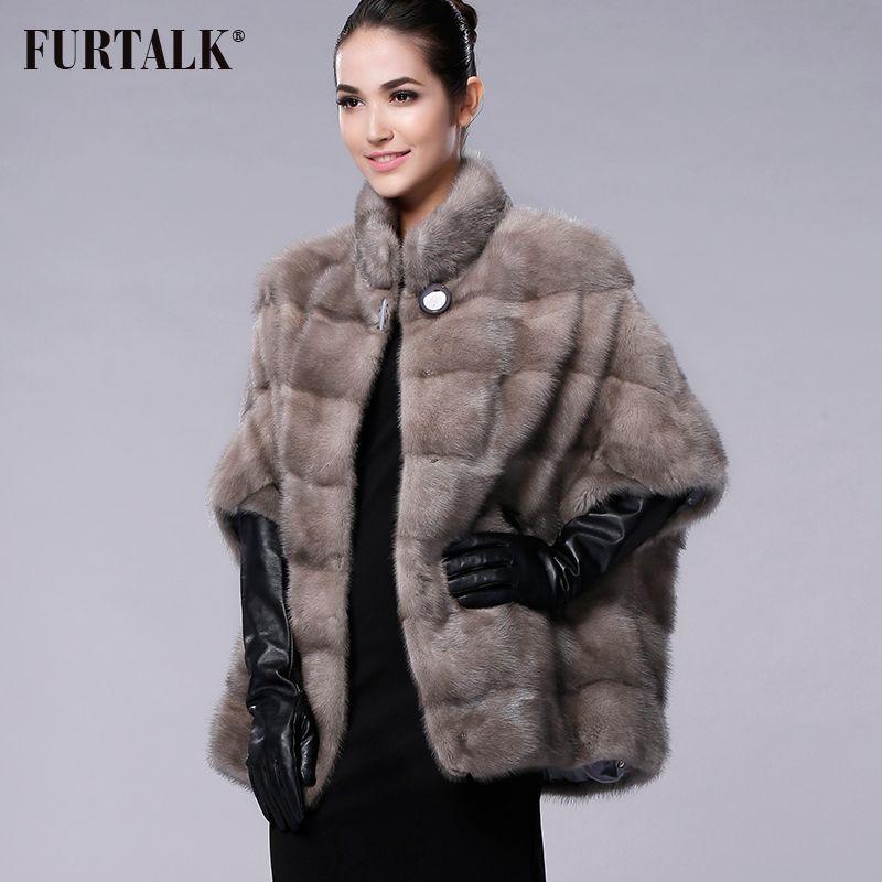 FURTALK brand Russian Winter Women's Real natural mink fur coat