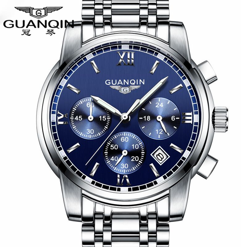 Fashion Watch men Luxury top brand GUANQIN steel men watch luminous waterproof Wristwatch multifunction Men <font><b>Clock</b></font> quartz watch